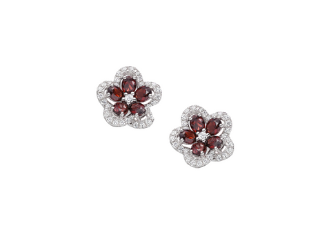 Garnet and Cubic Zirconia Silver Studs 9168