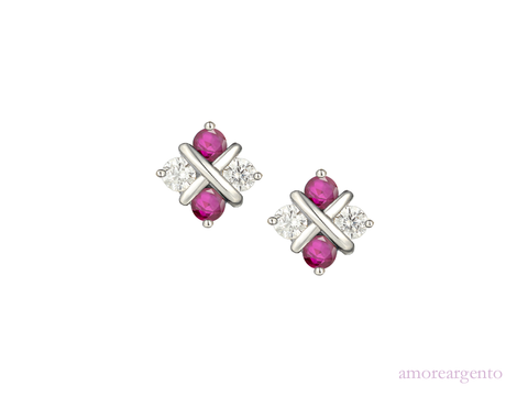Ruby, Cubic Zirconia and Silver Stud Earrings 9184