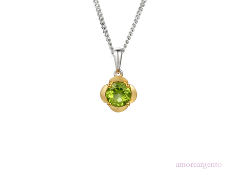 Peridot and Silver Gold Plated Necklace 9208YPER/SIL