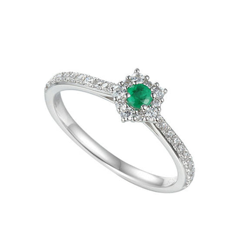 Emerald and CZ Ring 9210