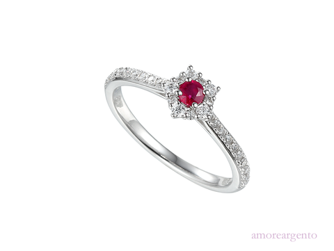 Ruby, Cubic Zirconia and Silver Ring 9210