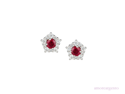 Ruby, Cubic Zirconia and Silver Stud Earrings 9211