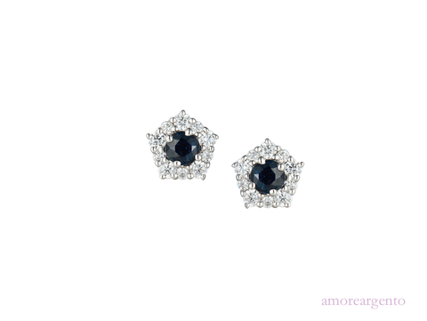Sapphire and Cubic Zirconia Silver Cluster Stud Earrings 9211s