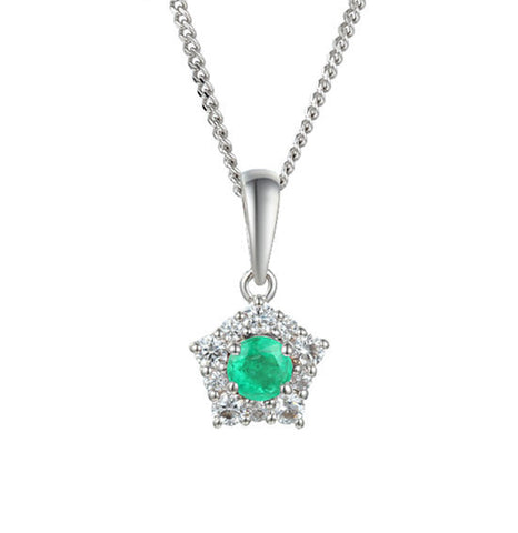 Emerald and CZ Silver Necklace 9212