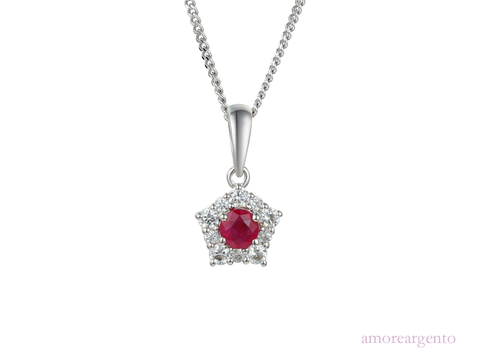 Ruby, Cubic Zirconia and Silver Necklace 9212