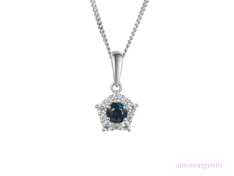 Sapphire and Cubic Zirconia Silver Cluster Necklace 9212s