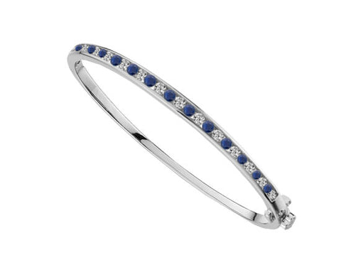 Sapphire and Cubic Zirconia Silver Bangle 9218s