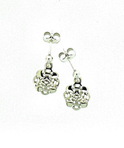 Silver Octofoil Drop Earrings A D 3