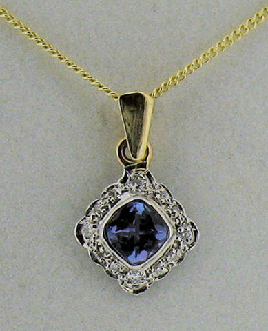 Tanzanite and Diamond Gold Pendant ACC 01