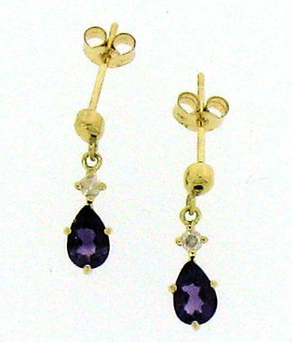 Amethyst & Diamond Drop Earrings ER63