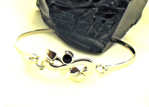 Whitby Jet & Silver Bangle NBA ART