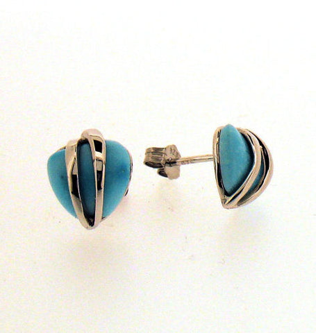 Turquoise and Silver Heart Shaped Stud Earrings BP0016