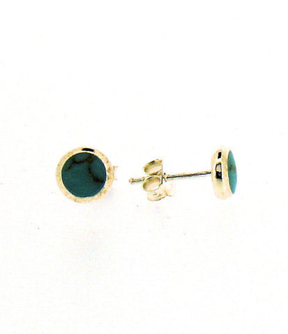 Turquoise and Silver Round Stud Earrings BP0257