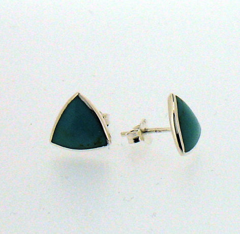 Turquoise and Silver Triangular Stud Earrings BP0278