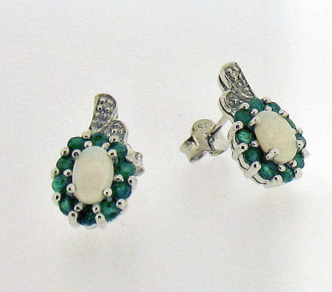 Emerald and Opal Siver Stud Earrings BP0426