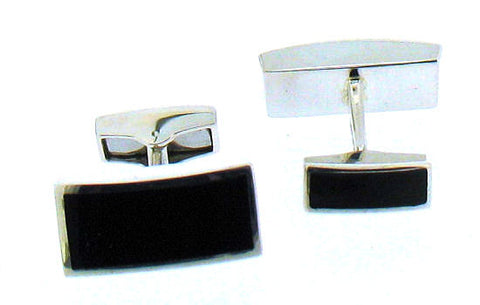 Whitby Jet & Silver Cufflinks BS53