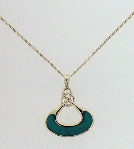 Turquoise and Silver Celtic Knot Pendant on Chain BT4771