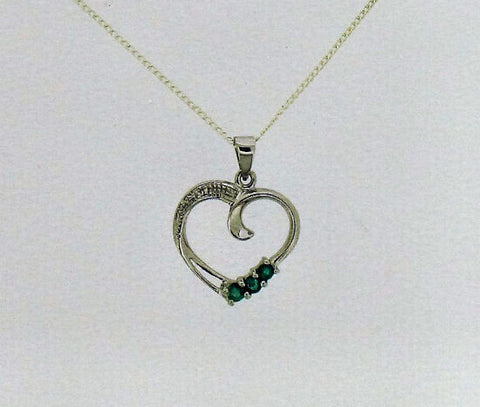 Emerald and Silver Heart Pendant BT8069