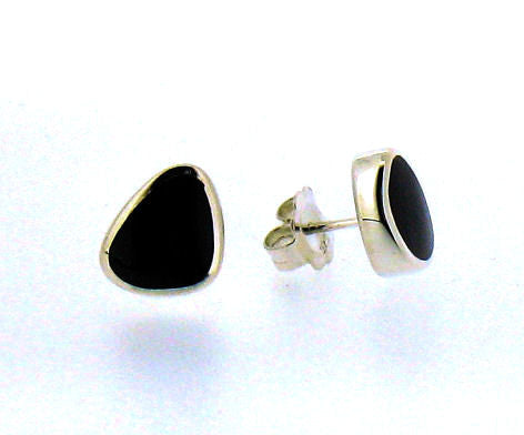 Whitby Jet & Silver Stud Earrings CE248