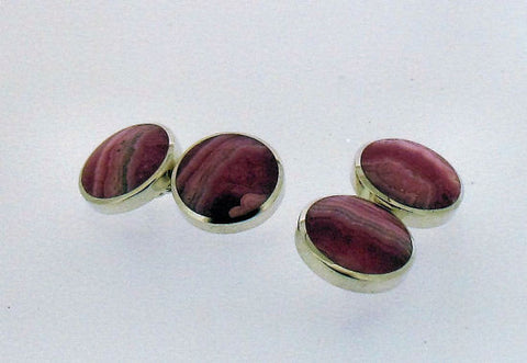 Rhodochrosite and Silver Cufflinks CH12