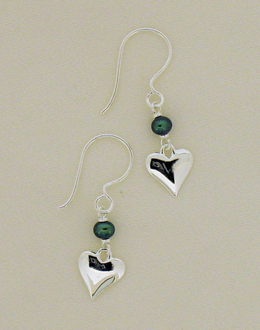 Pearl and Silver Heart Drop Earring E3981