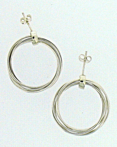 Silver Hoop Drop Earrings EMER5