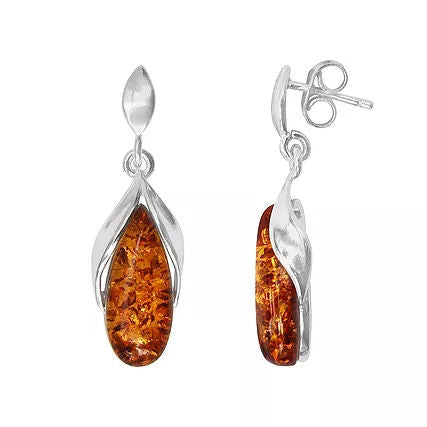 Amber and Silver Tulip Drop Earrings ER1234