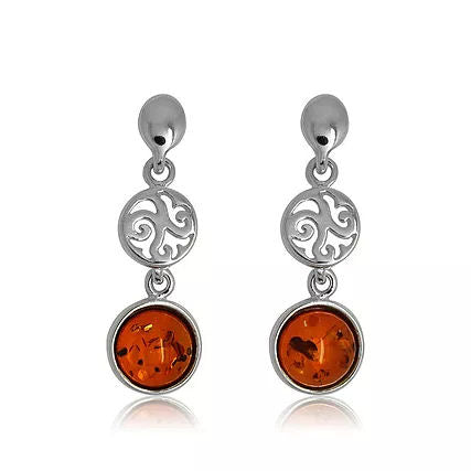 Amber and Silver Drop Earrings ER1394