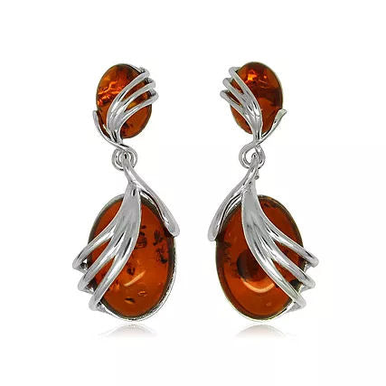 Amber and Silver Swirl Drop Earrings ER1479