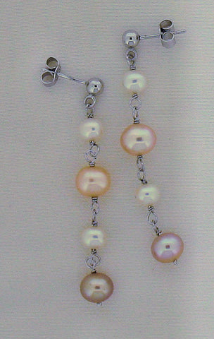Pearl and Silver Drop Earrings ER282