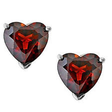 Garnet and Silver Heart Stud Earrings ER327RH