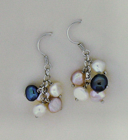 Pearl and Silver Cluster Drop Earrings ER602