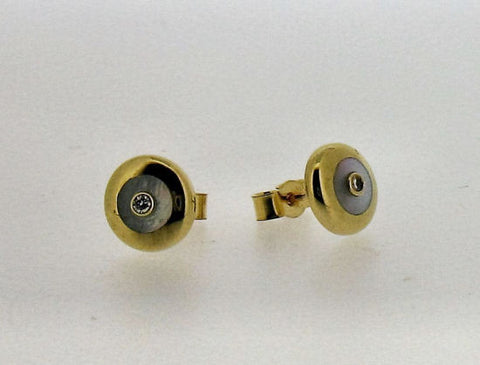 Mother-of-Pearl and Diamond Gold Studs E50