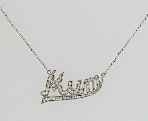 Cubic Zirconia and Silver 'Mum' Necklet GVK044
