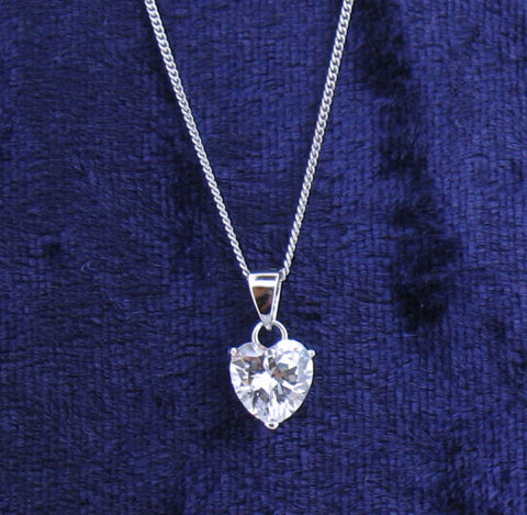Cubic Zirconia and Silver Heart Pendant and Chain GVP143