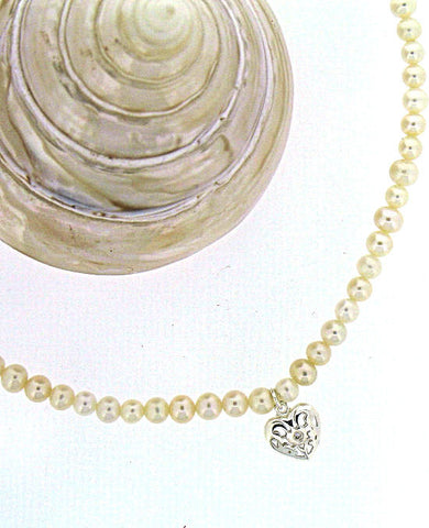 Freshwater Pearl & Diamond necklace by 'D For Diamond' N2370W