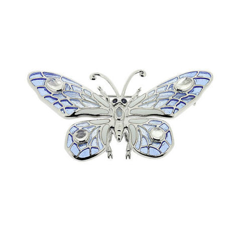 Enamel, Moonstone and Sapphire Silver Butterfly Brooch NB0120YE