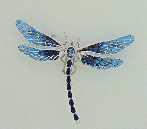 Blue Topaz & Diamond Silver Dragonfly Brooch NBO143WA
