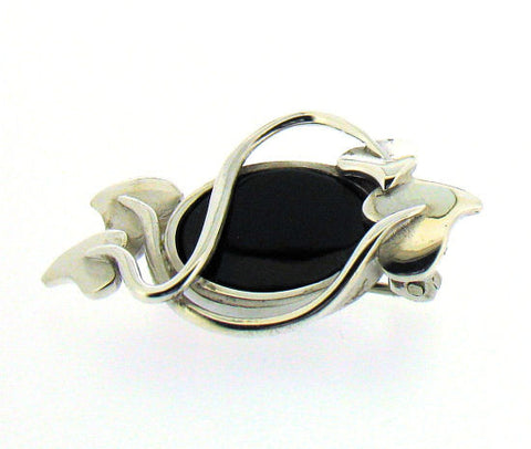 Whitby Jet & Silver Brooch NB68