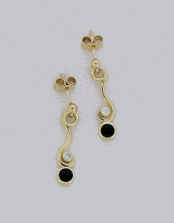 Whitby Jet and Diamond drop Earrings ND15