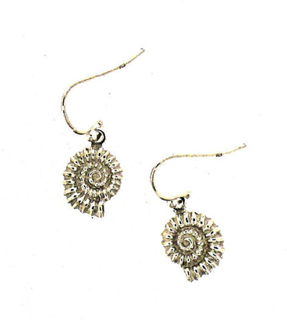 Silver Ammonite Drop Earrings NE35 D