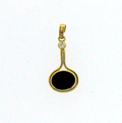 Whitby Jet and Diamond 9ct Pendant NP17