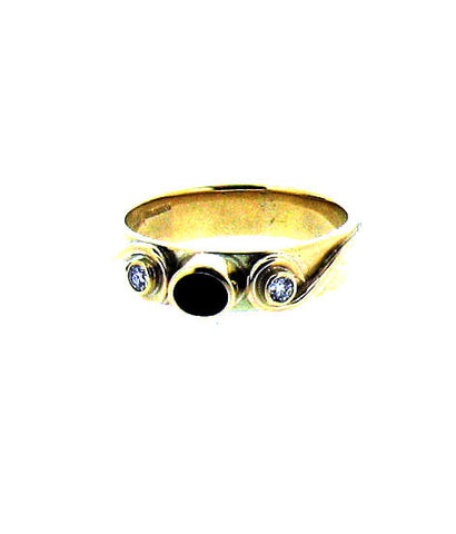 Whitby Jet & Diamond Gold Ring NR10