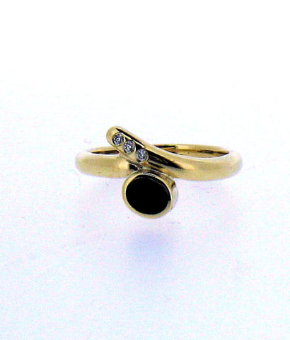 Whitby Jet and Diamond 9ct Ring NR18