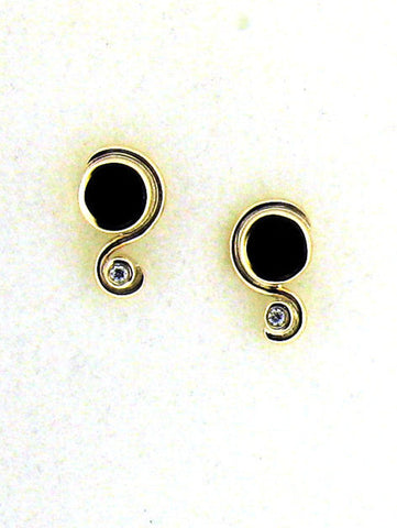 Whitby Jet and Diamond Stud Earrings NS01