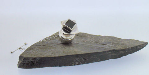 Whitby Jet and Silver Tie Tack NT8917