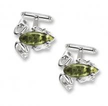 Enamel and Silver Frog Cufflinks NU0265A