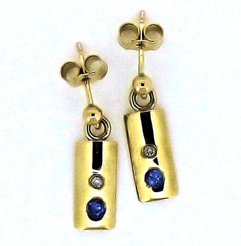 Tanzanite and Diamond gold Drop Earrings N 9DO3