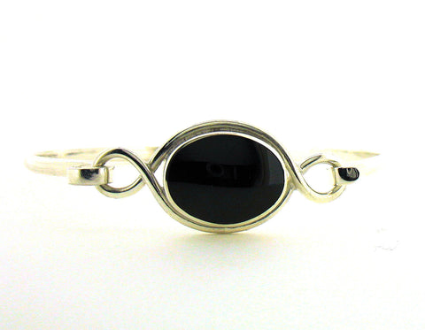 Whitby Jet & Silver Bangle NBA18