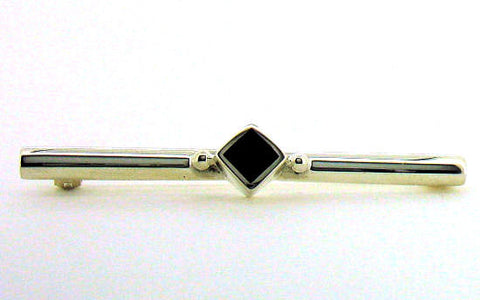 Whitby Jet & Silver Bar Brooch NB33